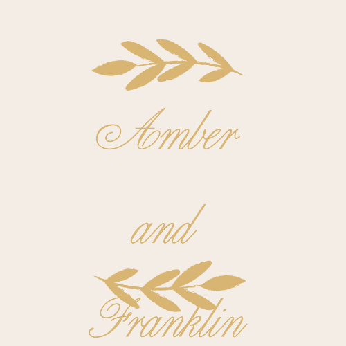 Beautiful in their sheer simplicity, our Glimmering Garland Foil Stickers feature your names in a flowing cursive, in the same shining gold-foil as the leaves that form a border along the top and bottom.