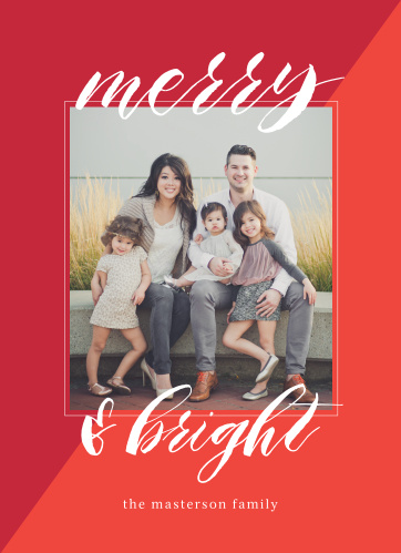 Share your season's greetings with your family and friends using the Hip Script Photo Christmas Card.