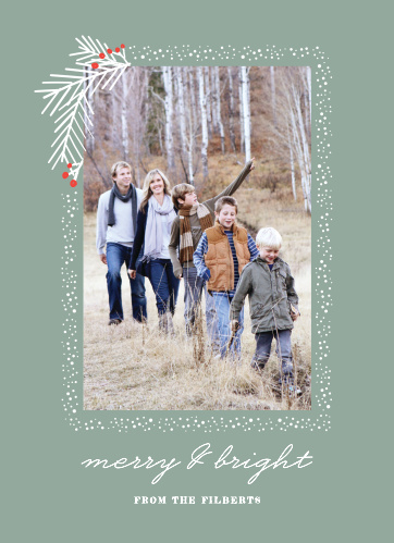 Snow frames your family portrait with a holly flourish on the top left corner of the Pine Branches Photo Holiday Cards.