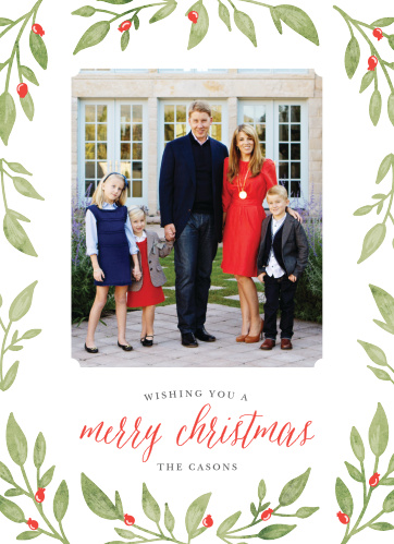 Bright, beautiful, and warm, our Leaves & Berries Photo Christmas Cards are a perfect fit for your family this holiday season.