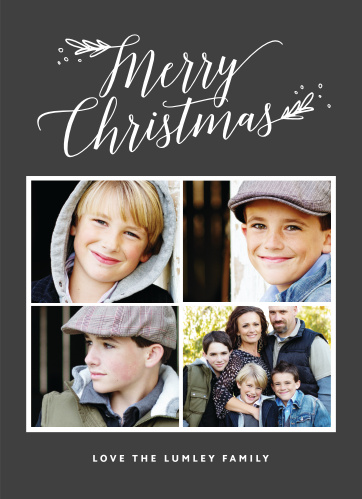 A gorgeous group of four photos takes front and center on our Leafy Script Photo Christmas Cards.
