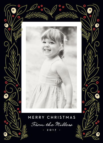 Classic illustrations of pine leaves and berries are set against a rich black background, making for an exquisite contrast of color for the Vintage Artwork Photo Christmas Cards.