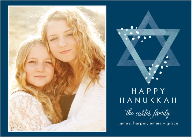 With a lovely photo of your choice to decorate the left-hand side of our Happy Hanukkah Photo Holiday Cards and a carefully opaque Star of David gracing the right, these cards are perfect for celebrating this year's holiday season.