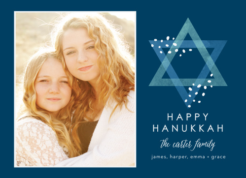 With a lovely photo of your choice to decorate the left-hand side of our Happy Photo Hanukkah Cards and a carefully opaque Star of David gracing the right, these cards are perfect for celebrating this year's holiday season.