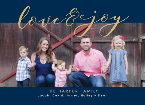 Our Love & Joy Foil Photo Holiday Cards feature a classic color combination of navy blue, snow white, and gold; with your photo serving as the primary backdrop, a gentle cursive in shining gold-foil spelling out your holiday greetings along the top, and a modern print sharing your family names along the bottom, these cards are a perfect fit for this holiday season.