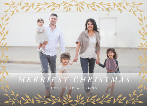 Choose one of your favorite photos to serve as the background for our Leaf Frame Foil Photo Christmas Cards.