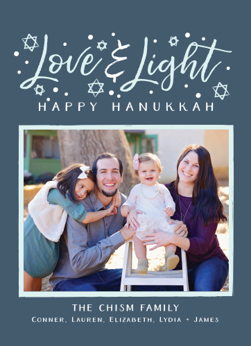 Send your holiday greeting to all your family and friends with the Love & Light Photo Hanukkah Cards.