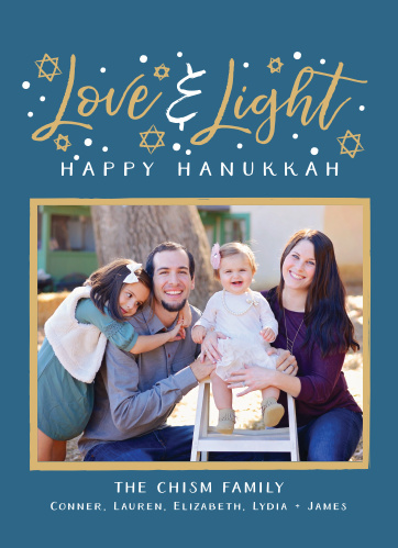 Send your holiday greeting to all your family and friends with the Love & Light Photo Foil Hanukkah Cards.