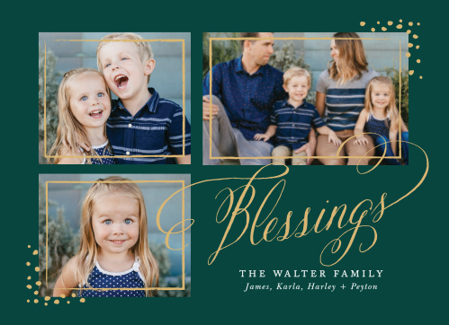 Decorate the peaceful evergreen background on our Bright Blessings Foil Photo Holiday Cards with a trio of your favorite photographs.