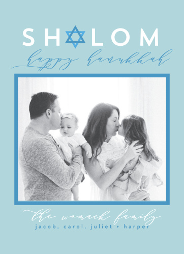Send your holiday greeting to all your family and friends with the Seasonal Shalom Photo Holiday Cards.