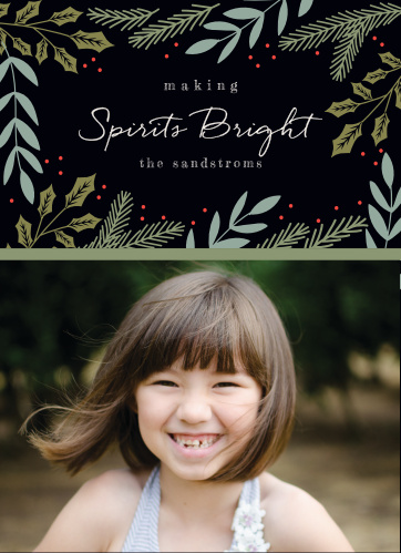 Bright Spirits Photo Holiday Cards are as perfect a representation of the holiday season as your family is of unconditional love.