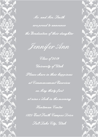 The  Victorian Stripes Graduation Announcement has an customizable pattern on both edges with text running the full length of the card.
