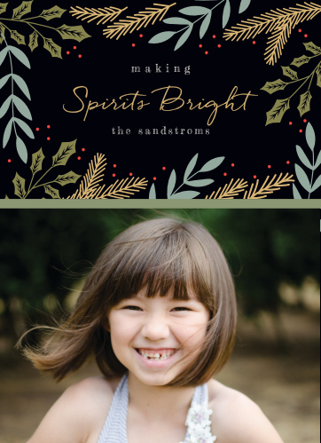 Bright Spirits Foil Photo Holiday Cards are as perfect a representation of the holiday season as your family is of unconditional love.