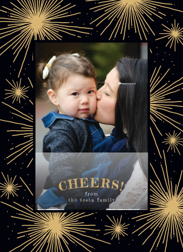 Make your holidays explode with festivity with our Cheerful Fireworks Foil Photo Holiday Cards.