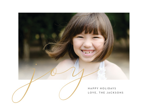 Thin, delicate, gold-foil lines sprawl across the surface of our Casual Script Foil Photo Holiday Cards, spelling out the primary emotion of the season.