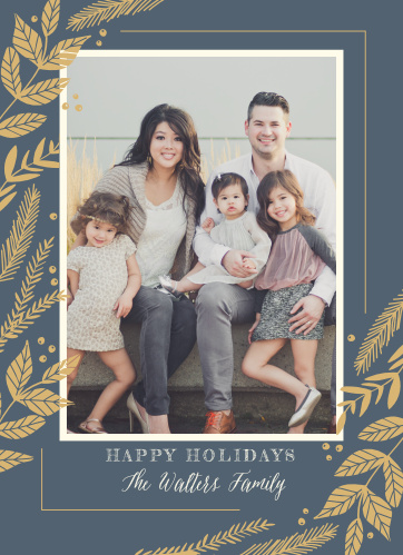 Our Fanciful Foliage Foil Photo Holiday Cards are decorated with ascending columns of festive foliage in a bright gold-foil along the sides, a beautiful family photo in the center, and your holiday greetings at the bottom in alternating bold print and elegant cursive.