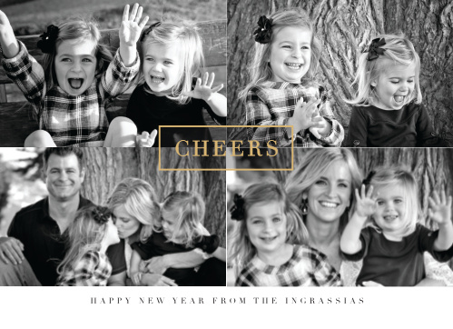 Upload your favorite current photos of your family to create the perfect quartet for our Center Square Foil Photo Holiday Cards.