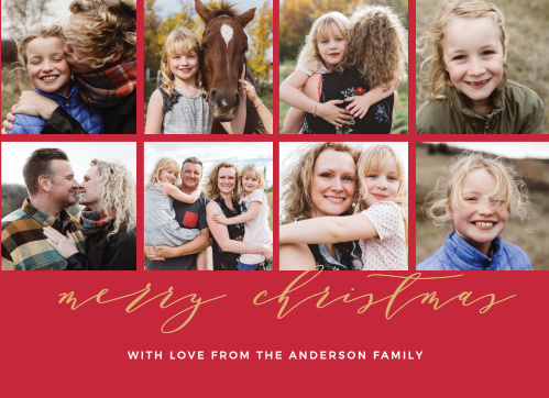 If you're having a hard time narrowing down all of those cute family photos you have, the Christmas Grid Foil Photo Christmas Cards is the perfect card for you.