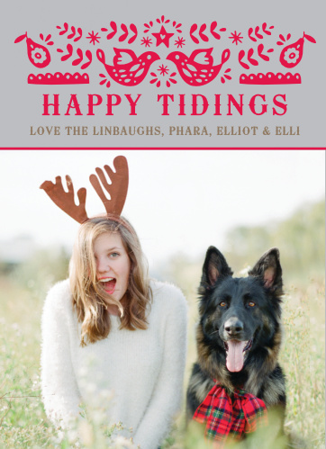 Bring tidings of comfort and joy to your loved ones this year using the Happy Tidings Photo Christmas Cards.
