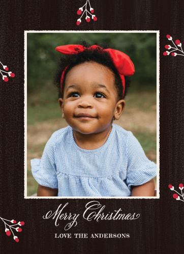 Keep your Holiday Cards classic this year using the Pine Bough Photo Christmas Cards.