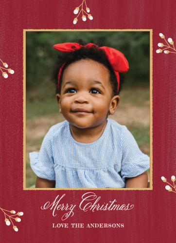 Keep your Holiday Cards classic this year using the Pine Bough Foil Photo Christmas Cards.