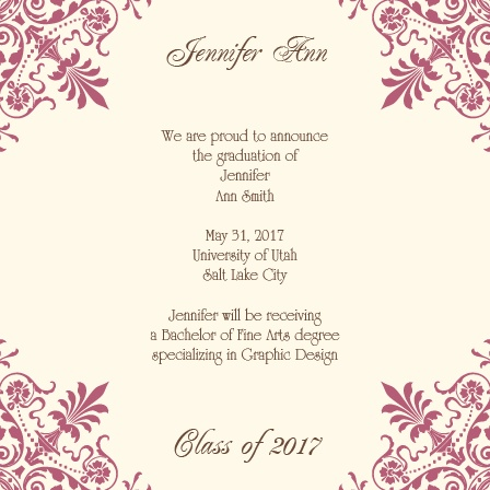 Chandelier Corner Graduation Announcement