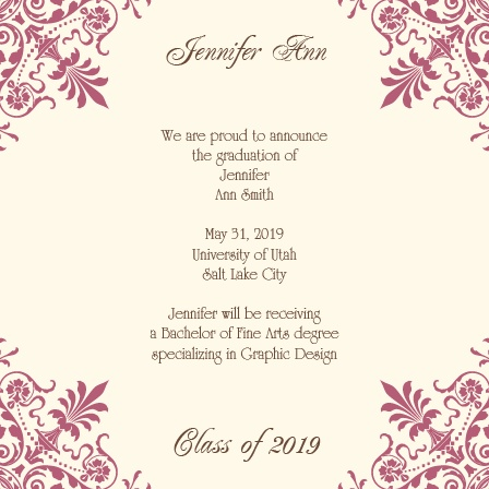 The Chandelier Corner Graduation Announcement with is ornate corner patterns is sure to be noticed.