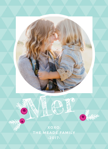 The Bright Triangles Photo Christmas Cards have a bright, geometric pattern as the background, set behind your photo in a circled frame.