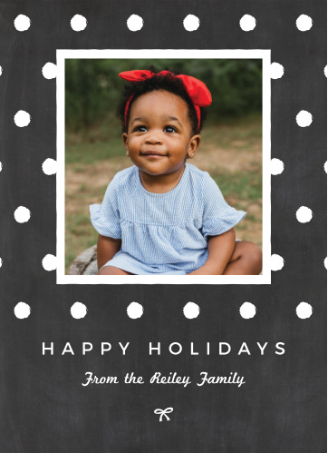 Wish your loved one a happy holiday with the Simply Chalkboard Photo Holiday Cards.