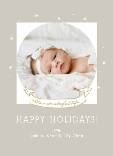 Share your wonderful life with the Wonderful Life Photo Holiday Cards.