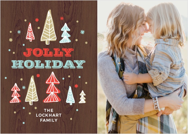 Share your holiday love with friends and family using the Woodsy Photo Christmas Cards.