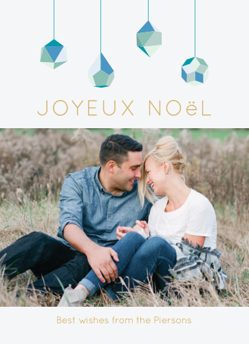 Elegant crystal ornaments descend upon your gold foiled greeting and portrait for our Noel Ornaments Foil Photo Christmas Cards.