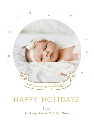Share your wonderful life with the Wonderful Life Foil Photo Holiday Cards.