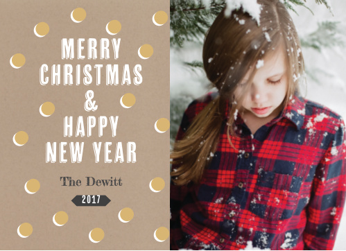 The Kraft & Shimmer Foil Photo Christmas Cards are decorated with a gold foiled pattern atop a craft paper like backdrop!
