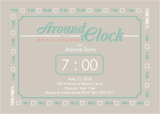 Around the clock bridal shower invitations match your color the clock bridal shower invitations filmwisefo