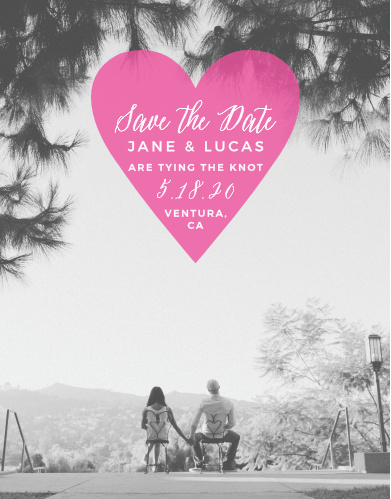 A semi-transparent inscribed heart sits atop your engagement photo for our Heart Beat Save-the-Date Magnets.