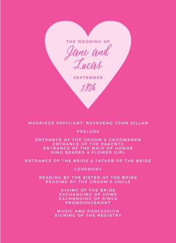 The Heart Beat Wedding Programs don't need much in the way of embellishment.