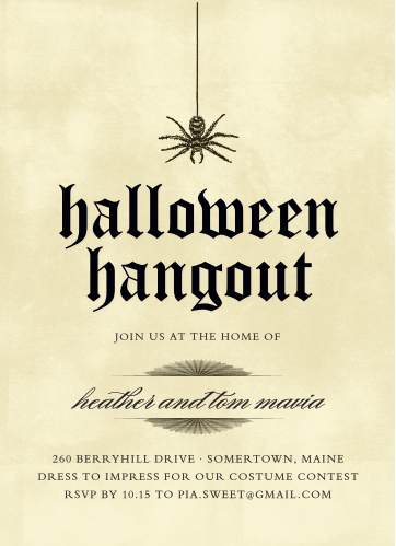 On a background of well-weathered parchment, and with a spider hanging precariously over the title, our Spider Parchment Halloween Party Invitations are your quintessential Halloween card.