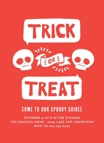 Plan out the Halloween Party of the century with your fellow skeletons using our Talk Bubbles Halloween Party Invitations.