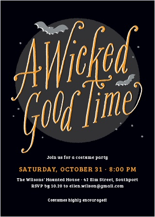 In the classic black and orange color scheme of the holiday, our Wicked Halloween Party Invitations are fantastic for inviting all of your friends and family to your perfect party.