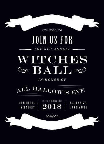 Keep your upcoming Halloween party spooky, but not too spooky, with our Witches Ball Halloween Party Invitations.