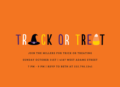 The Clean Trick or Treat Halloween Party Invitations are simple and classic in coloring and design!