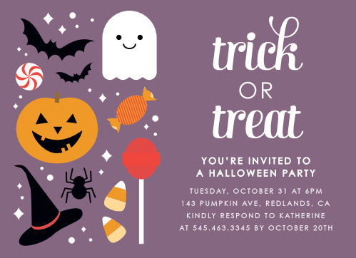 Pumpkins, bats, spiders, & ghosts oh my! The Costumes & Candy Halloween Party Invitations are the perfect cards for your frightful bash this year!