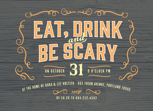 Our Gnarled Wood Halloween Party Invitations feature your invitational text in a bright, Halloween orange decorated with a series of artful swirls, all on a background of gray, petrified wood.