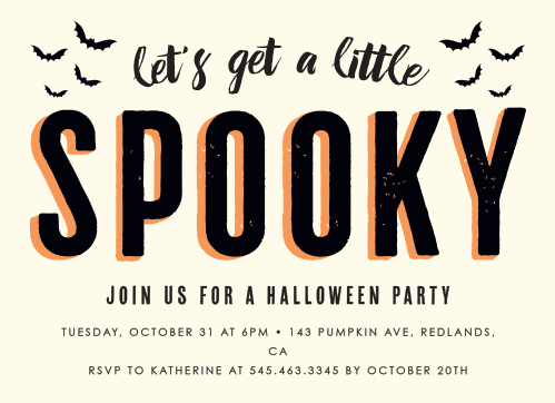 Keep it classically scary with our Spooky Bats Halloween Party Invitations: featuring a black and orange shaded title surrounded by bats and an easy to read typeface for your party details below, you can be sure that these invitations will be a hit with each and every one of their recipients.