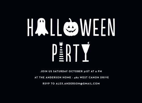 Guarantee that your house is filled with spooky costumers on Halloween using our Spooky Contemporary Halloween Party Invitations.