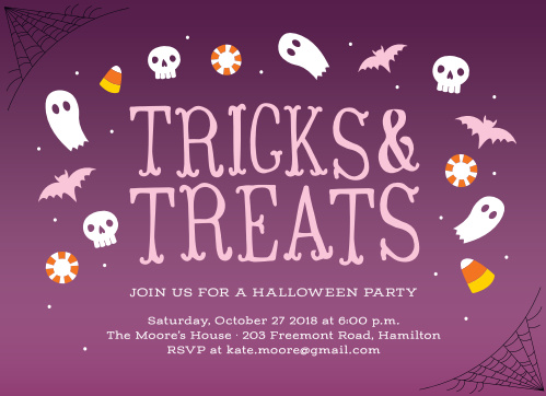 Keep them knocking on your door all night with our Tricks & Treats Halloween Party Invitations.