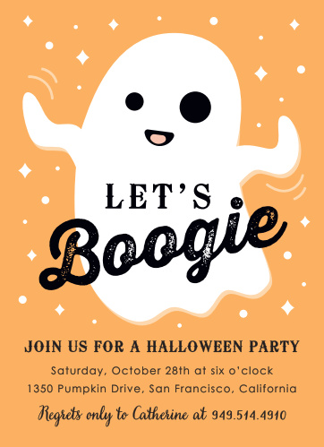 Your guests will want to BOOgie down all night when they get invited to your party using the Let's Boogie Halloween Party Invitations.