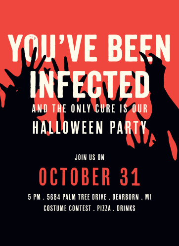 Your guests won't want to miss your Halloween party when they receive the Infection Halloween Party Invitations.