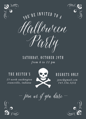 Make sure you invite your guests to your party with the festive Skull & Crossbones Halloween Party Invitations.